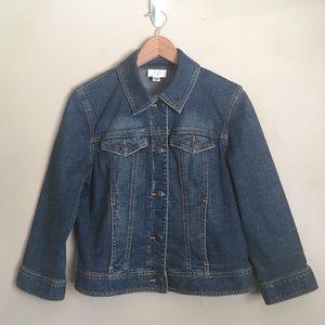 Ann Taylor LOFT Denim Jean Jacket Dark Wash Size 8